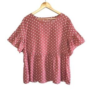 2X Pink Peplum Polka Dot Ruffle Sleeve Top | Shein